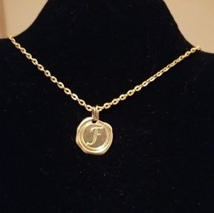Gold necklace with Initial F Charm